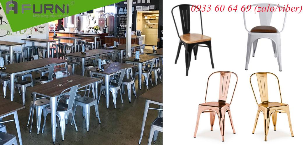 Bàn ghế Tolix mặt gỗ tự nhiên và cổ điển giá rẻ tại Tp. HCM