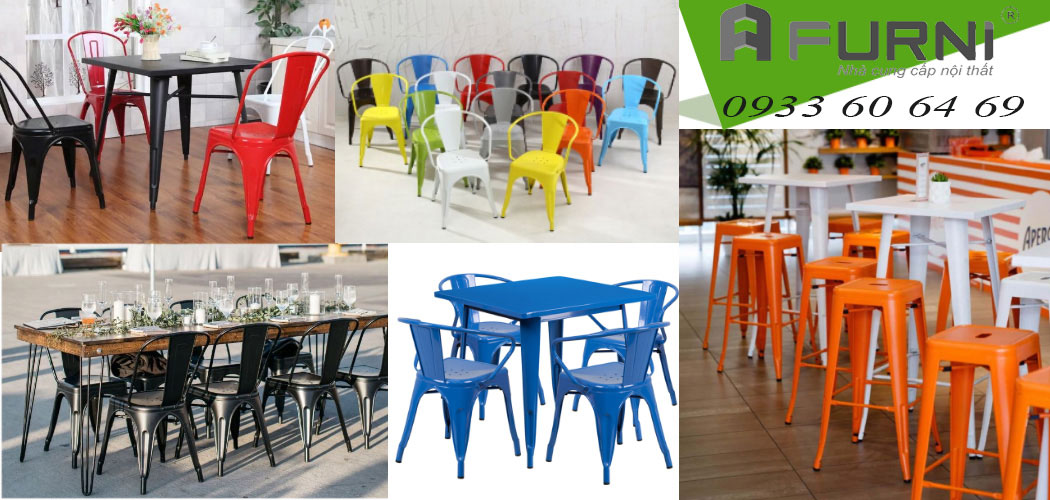 Bàn ghế café nhà hàng Tolix thép sơn tĩnh điện xếp chồng tiện lợi