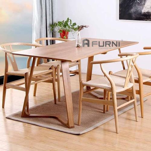 Bộ bàn ghế ăn gỗ cao cấp sang trọng BA VALLEY WISHBONE