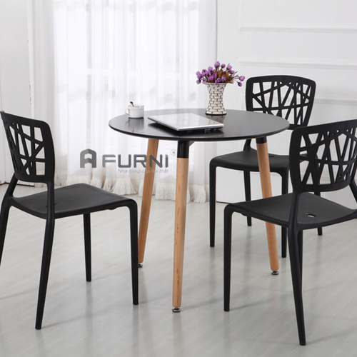 Bộ bàn ghế cafe đại giá rẻ bàn TE DAW-06W và ghế cafe nhựa đúc  VIENTO