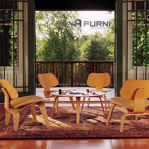 Bộ bàn trà thư giãn bằng gỗ hiện đại ( Bàn Molded và ghế LCW)