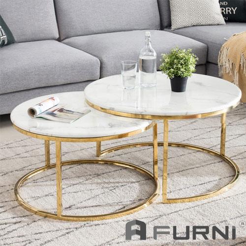 Bàn sofa cặp chân inox 304 cao cấp mạ vàng sang trọng TS NESTED - 75