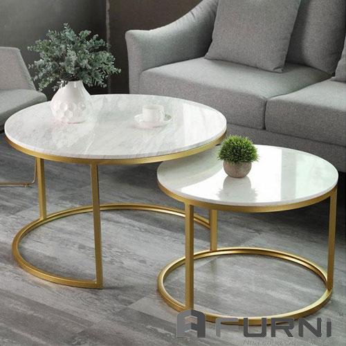 Bàn sofa cặp inox mạ vàng TS NESTED - 75 hiện đại sang trọng cho phòng khách