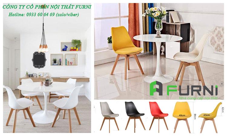 Bộ bàn ăn tròn mặt composite kết hợp ghế chân gỗ BA TULIP DSW-P