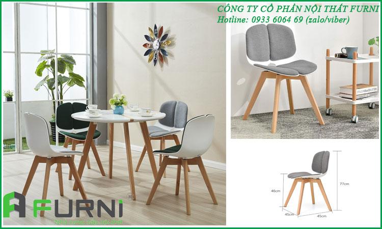 Bộ bàn ăn tròn mặt gỗ sơn chân gỗ cùng ghế nhựa lót nệm BA DOLL 09
