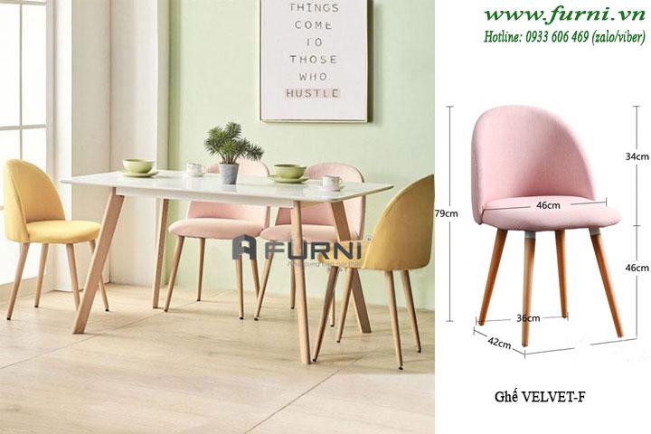Bộ bàn ghế ăn dài 4 ghế vải BA LEXI VELVET 12
