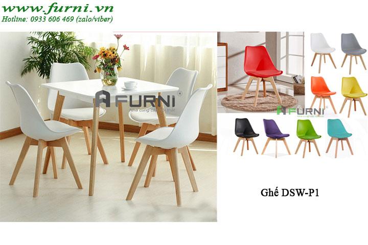Bộ bàn ghế ăn vuông 4 ghế giá rẻ cho căn hộ BA LEXI DSW