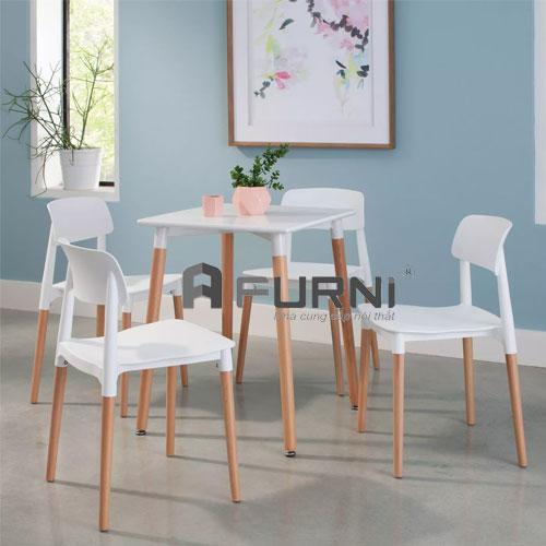 Bộ 4 ghế cafe fastfood nhỏ gọn màu trắng cá tính CF DAW FILLY 60 trẻ trung HCM