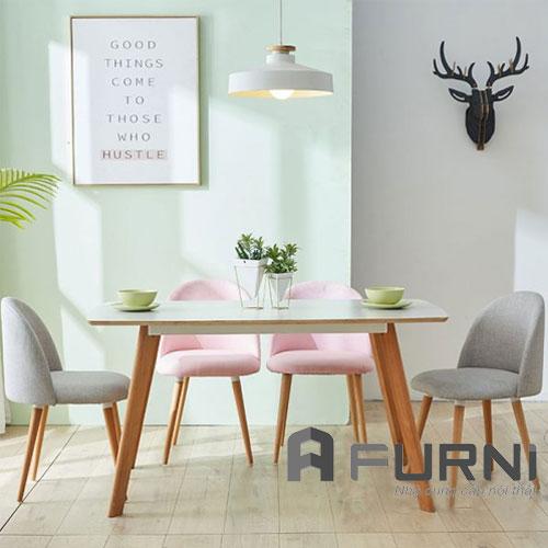 Bộ bàn ăn dài dành cho 4 ghế có nệm dành cho căn hộ chung cư