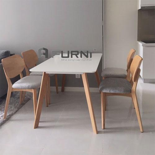 Bộ bàn ăn gỗ cao cấp BA LEXI PLC 12 dành cho gia đình 4 thành viên.