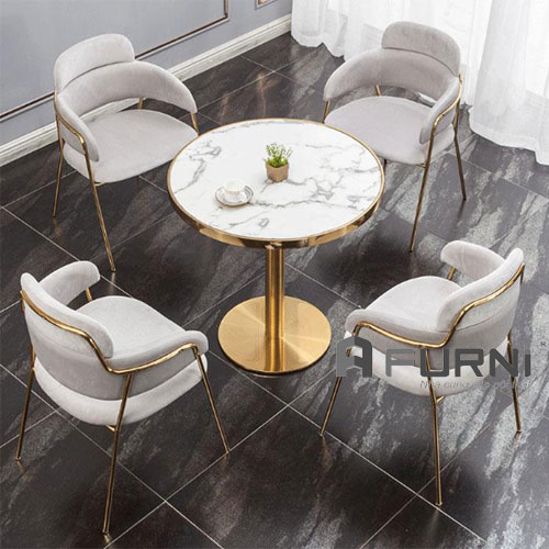 Bộ bàn ghế ăn cao cấp mạ vàng gold cao cấp hiện đại BA 1526 STRIKE
