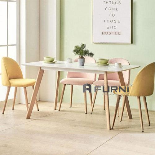 Bộ bàn ghế ăn dài 1m2 BA LEXI VELVET 12 4 ghế cho gia đình nhỏ