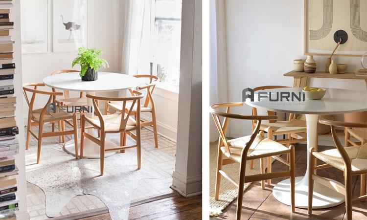 Bộ bàn ăn tròn 4 ghế BA TULIP WISHBONE phong cách chuẩn Châu Âu hiện đại