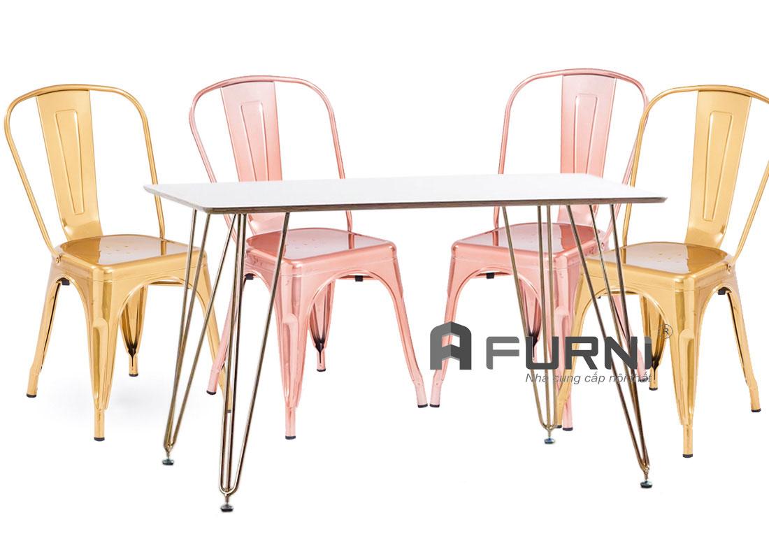 Bộ bàn ghế cafe fastfood bao gồm bàn HAIRPIN 1m4 vaf ghế tolix vàng kim và hồng kim sang trọng