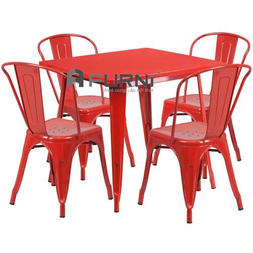 Bộ bàn ghế dành cho quán cafe nhỏ gọn trẻ trung để ngoài trời CF TOLIX 08 giá rẻ HCM