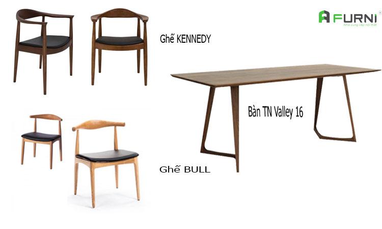Bộ bàn ghế hiện đại bằng gỗ tự nhiên BA VALLEY KENBULL cho gia đình 4 người