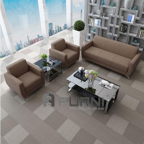 Bộ bàn ghế sofa 1 băng dài và 2 sofa đơn kết hợp 2 bàn sofa kính SS 0902F