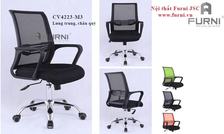 Ghế lưới hiện đại chân xoay lưng trung cho nhân viên văn phòng CE4263-M