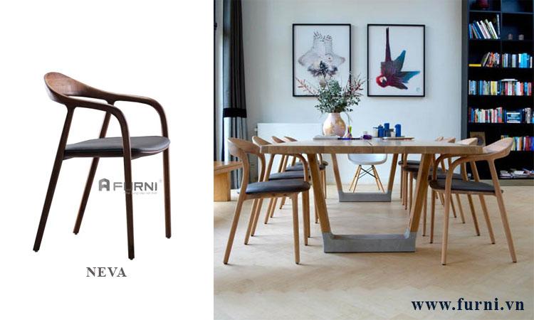 Ghế phòng ăn có nệm cao cấp bằng gỗ NEVA cho các căn hộ chung cư cao cấp