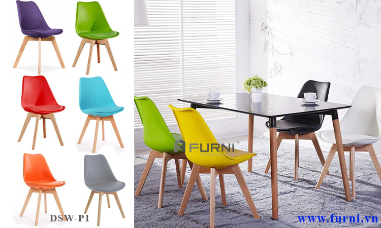 Ghế phòng ăn có nệm trẻ trung nhiều màu DSW-P1 dành cho căn hộ chung cư cao cấp