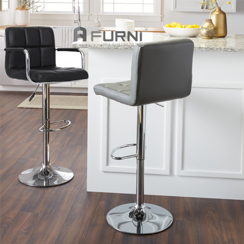 Ghế salon tóc đẹp CB2214-P có phần thân bọc PVC có độ bền cao và phần chân inox có thể tăng giảm tùy ý