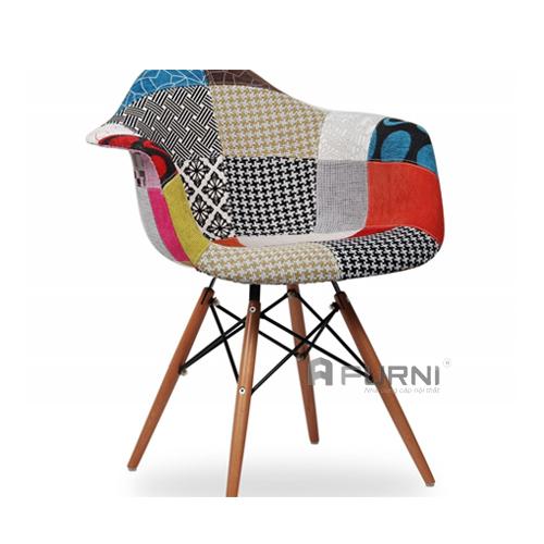 Ghế thư giãn đẹp toàn thân bọc vải thổ cẩm chân gỗ DAW-F