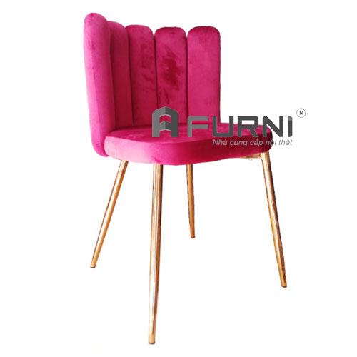 Ghế bọc nệm vải nhung màu hồng nữ tính CC 3006 B-F chân thép mạ sắc xảo và sang trọng
