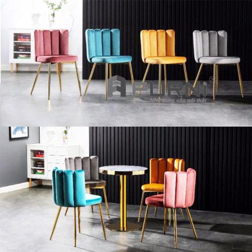 Ghế cafe bọc vải nhung kết hợp cùng bàn TE 1526-08P cao cấp