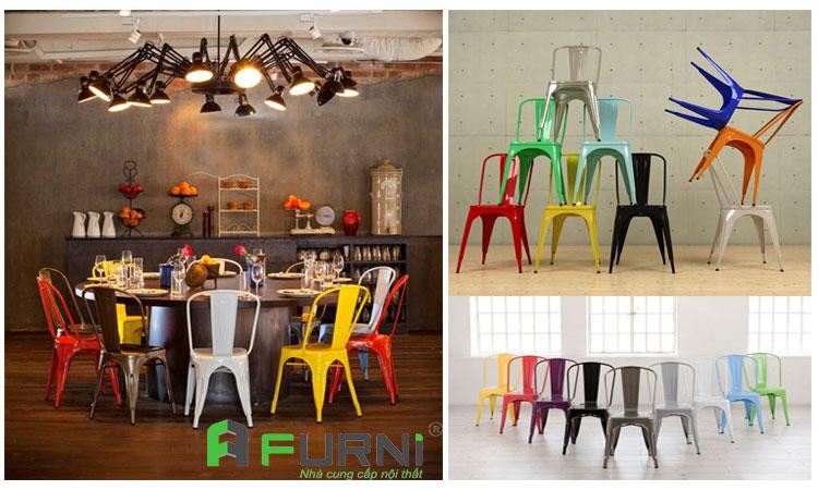 Ghế cafe fastfood thép sơn tĩnh điện xếp chồng TOLIX T
