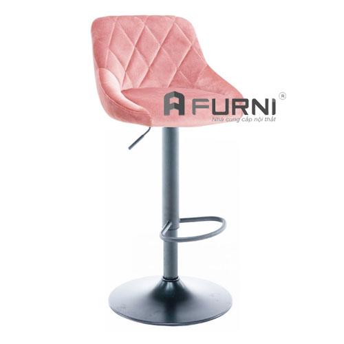Ghế quầy bar bọc vải nhung màu hồng xinh xắn CB 2261A-F chân sắt sơn tĩnh điện