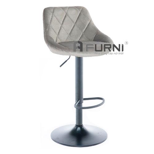 Ghế quầy bar bọc vải nhung màu xám CB 2261A-F chân sắt sơn tĩnh điện