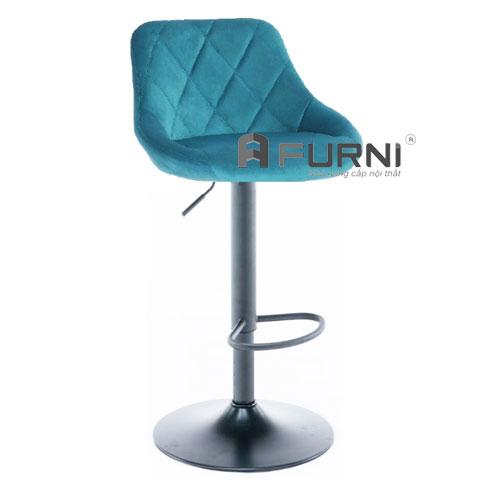 Ghế quầy bar bọc vải nhung màu xanh CB 2261A-F chân sắt sơn tĩnh điện