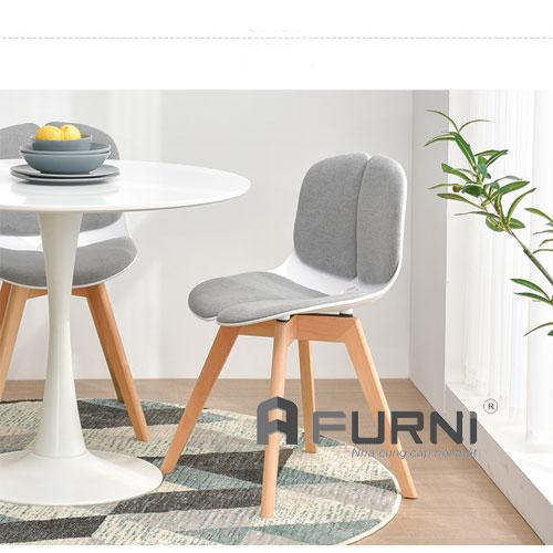 Ghế thân nhựa lót nệm chân gỗ cao cấp DOLL-F