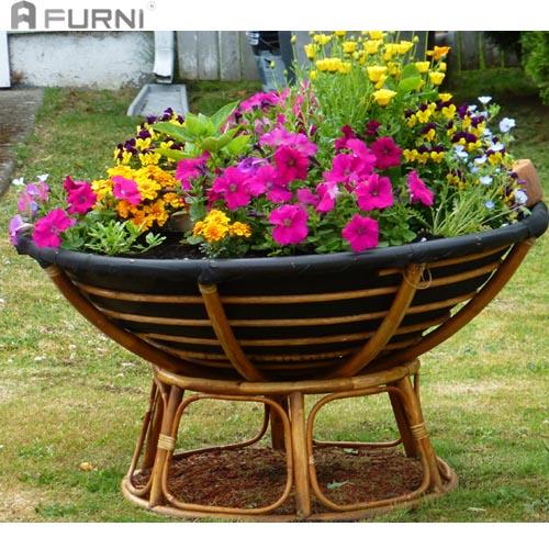Ngay cả khi không còn được sử dụng như một chiếc ghế, bạn vẫn có thể biến Papasan thành một khu vườn rực rỡ