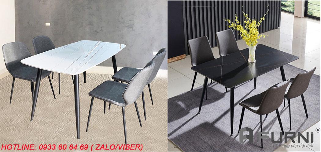 Bộ bàn ăn đá phiến đẹp 1m4 và 4 ghế nệm chân sắt giá rẻ