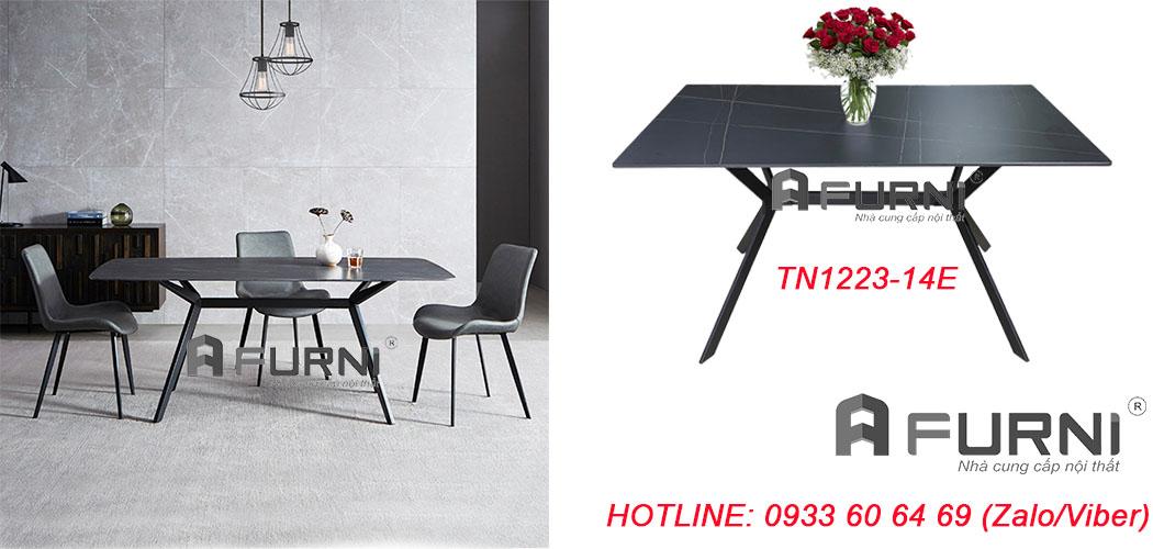 Bộ bàn ăn đá phiến đẹp 4 ghế nệm chân sắt nhập khẩu