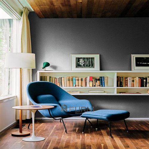 Ghế thư giãn cao cấp womb chair màu xanh dương đậm mang phong cách châu âu kết hợp bàn Tulip mặt gỗ