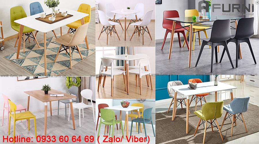 Bộ bàn ăn 4 ghế sắc màu các tinh giá rẻ hiện đại hcm