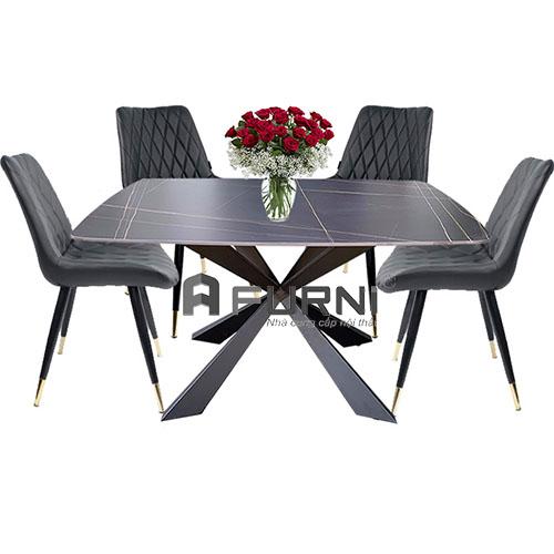 Bộ bàn ghế ăn mặt đá phiến cao cấp hiện đại hcm