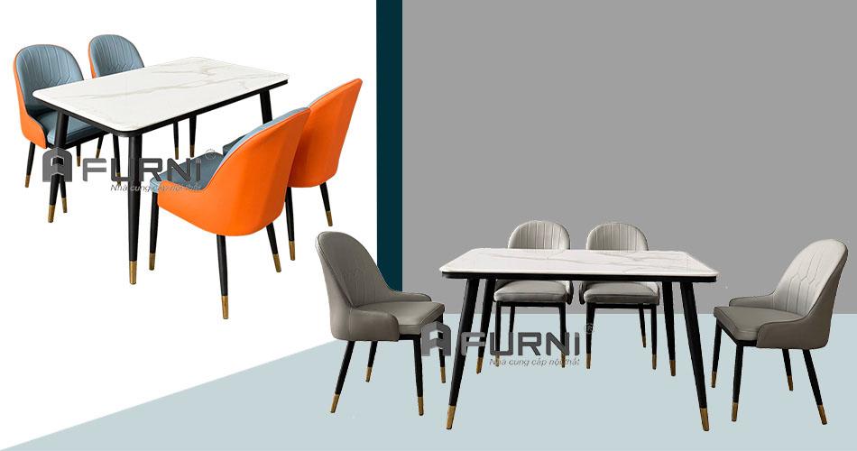 Bộ bàn ăn 1m4 và 4 ghế Sala cho căn hộ hiện đại HCM