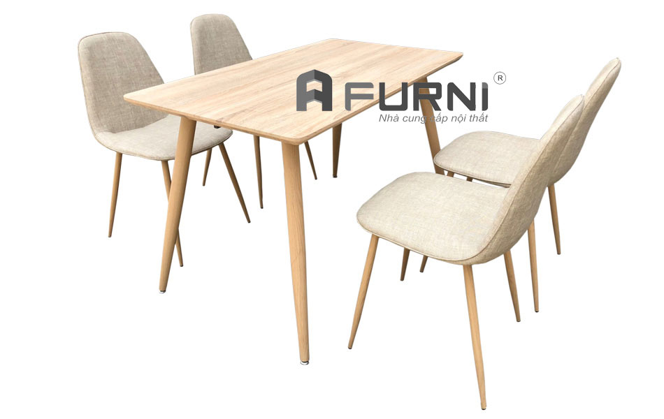 Bộ bàn ăn nhà hàng TN1215-12W kết hợp với ghế ăn CC3003 thân PVC giả vải màu vân gỗ