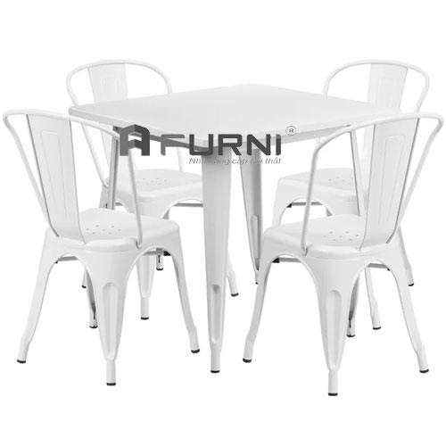 Bộ bàn ghế dành cho quán cafe CF TOLIX 08 hiện đại bền màu tại HCM