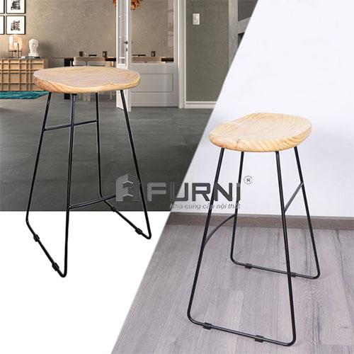 Ghế quầy bar chân sắt mặt gỗ giá rẻ hiện đại