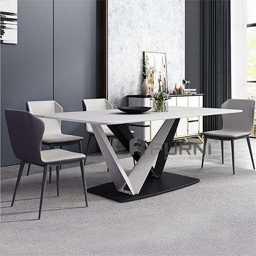 Bộ bàn ghế ăn mặt đá phiến