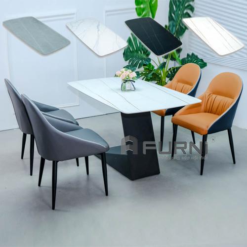 Bộ bàn ghế ăn 4 ghế da
