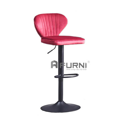 Ghế bar bọc nhung chân sắt sơn đen
