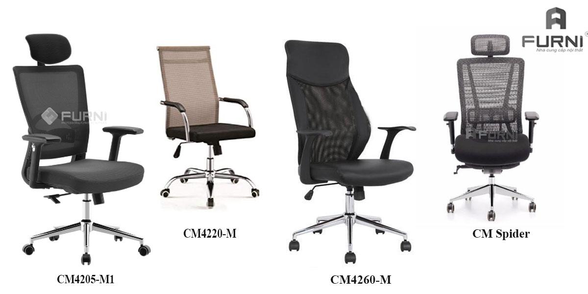 Ghế văn phòng chân xoay lưng cao dành cho nhân viên