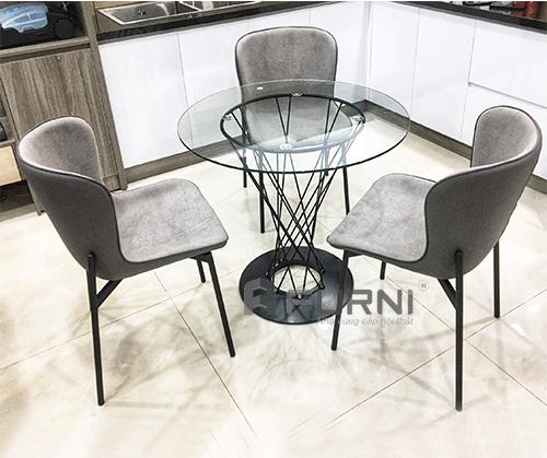 Bộ bàn ăn 3 ghế mặt kính 80