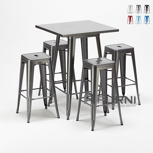 Bộ bàn ghế bar thép sơn